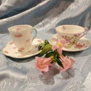 Pair of SHELLEY Demitasse teacups ENG BONE CHINA